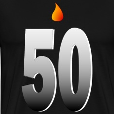 Big Fifty With Candle Flame And Shading--DIGITAL DIRECT PRINT T-Shirts