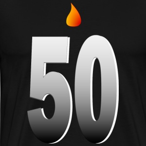Big Fifty With Candle Flame And Shading--DIGITAL DIRECT PRINT T-Shirts - Men's Premium T-Shirt
