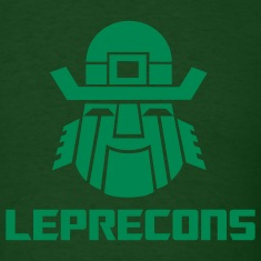 Leprecons-Light Green Flock on Forest Green