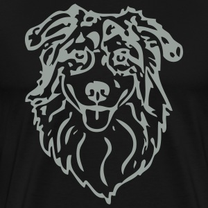 Black australianshepherd002 Men - Men's Premium T-Shirt