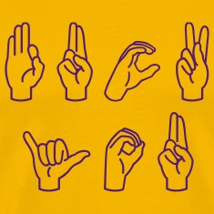 Yellow Fuck You in sign language Men