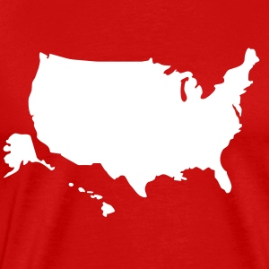 Red USA map Hawaii & Alaska solid Men - Men's Premium T-Shirt