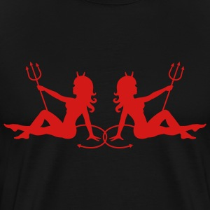 Black Two Devil Mudflap Girls Men - Men's Premium T-Shirt