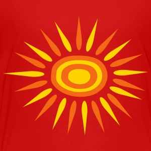 Red Big Sun With Alternate-Color Rays and Rings Kids & Baby - Toddler Premium T-Shirt