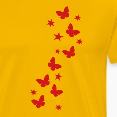 Yellow butterfly_stars T-Shirts (Short sleeve)