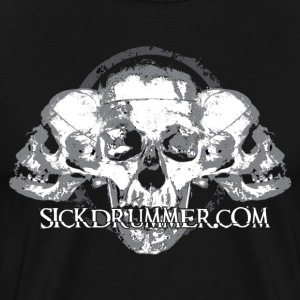 Sick Drummer 3 Skull Short Sleeve - Men's Premium T-Shirt