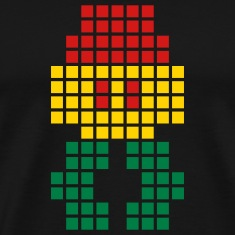 Black Jahtari Space Invaderz RED GOLD GREEN T-Shirts (Short sleeve)