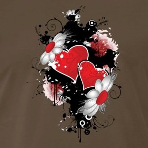 Chocolate flowered hearts - Men's Premium T-Shirt