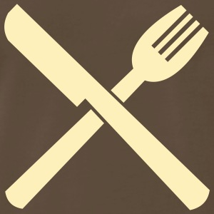 Chocolate jobs_fork_n_knife_v1 T-Shirts (Short sleeve) - Men's Premium T-Shirt