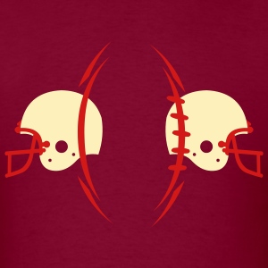 Burgundy american_football_ball_n_helmets T-Shirts (Short sleeve) - Men's T-Shirt