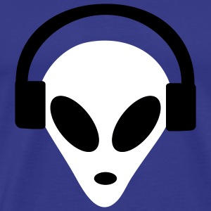 Royal blue Headphones Alien T-Shirts (Short sleeve) - Men's Premium T-Shirt