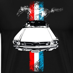 Black auto_mustang_stripes_distressed T-Shirts (Short sleeve)