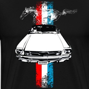 Black auto_mustang_stripes_distressed T-Shirts (Short sleeve) - Men's Premium T-Shirt