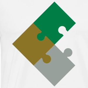White Jigsaw Puzzle 3 Parts T-Shirts (Short sleeve) - Men's Premium T-Shirt
