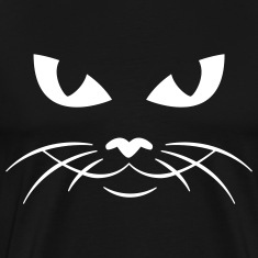 Black cat face kitty pussy T-Shirts (Short sleeve)