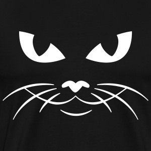 Black cat face kitty pussy T-Shirts (Short sleeve) - Men's Premium T-Shirt