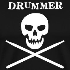 Black drummer skull T-Shirts (Short sleeve)