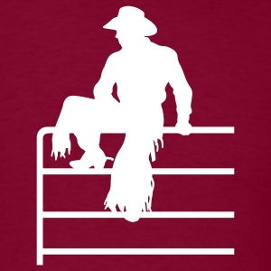 Burgundy cowboy fence T-Shirts (Short sleeve) - Men's T-Shirt