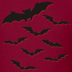 Burgundy Flock of bats T-Shirts (Short sleeve)