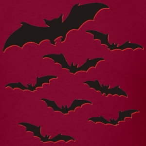 Burgundy Flock of bats T-Shirts (Short sleeve) - Men's T-Shirt