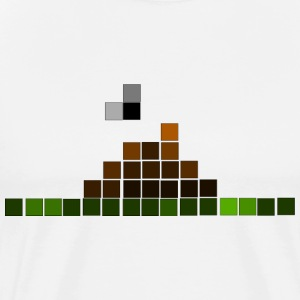 White Pixelated Poo with fly T-Shirts - Men's Premium T-Shirt