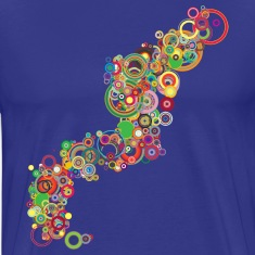 Royal blue Retro Colorful Circles Design T-Shirts