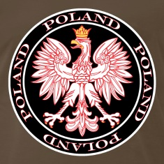 Round Poland Eagle Outlined In Red