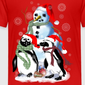 Christmas Penquin and Snowman - Toddler Premium T-Shirt