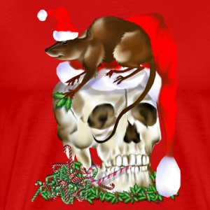 Christmas Skull and Happy Rat - Men's Premium T-Shirt