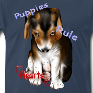 Puppies Rule Hearts - Men's Premium T-Shirt