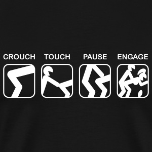 Black Crouch, Touch, Pause, Engage T-Shirts - Men's Premium T-Shirt
