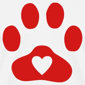 Natural Heart In Paw Print  - Dog, Cat T-Shirts - Men's Premium T-Shirt