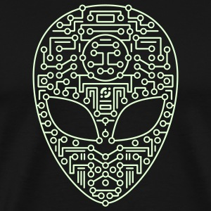 Black Alien Circuit Board  T-Shirts - Men's Premium T-Shirt