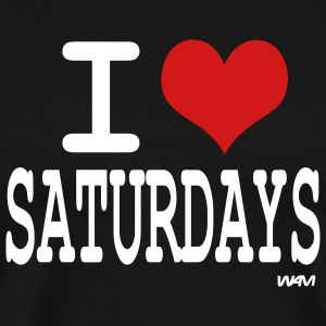 Black i love saturdays by wam T-Shirts - Men's Premium T-Shirt