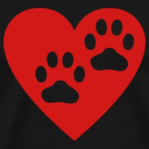 Black Two Paw Print In Heart T-Shirts - Men's Premium T-Shirt