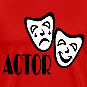 Red Actor With Comedy Tragedy Masks T-Shirts - Men's Premium T-Shirt