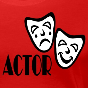 Red Actor With Comedy Tragedy Masks Plus Size - Women's Premium T-Shirt