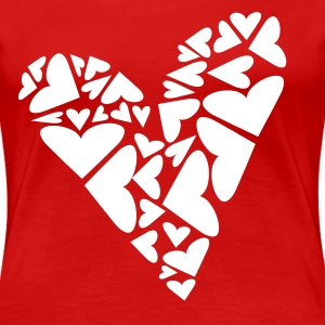 Red Hearts In Heart Formation, Asymmetrical Plus Size - Women's Premium T-Shirt