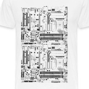 White Computer motherboard Design T-Shirts - Men's Premium T-Shirt