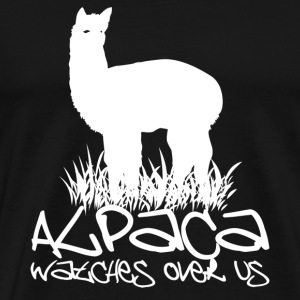 Alpaca watches over us - Men's Premium T-Shirt