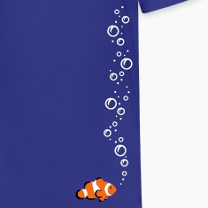 Royal blue Clownfish with bubbles Kids Shirts