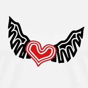 White Heart On The Wing Tribal Style T-Shirts - Men's Premium T-Shirt