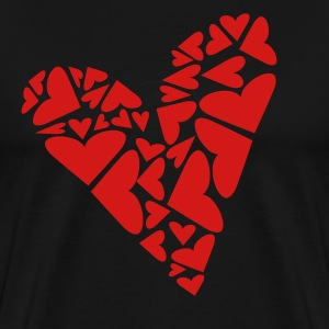 Black Hearts In Heart Formation, Asymmetrical T-Shirts - Men's Premium T-Shirt