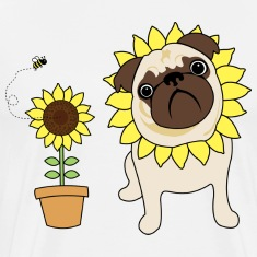 White Sunflower Pug T-Shirts