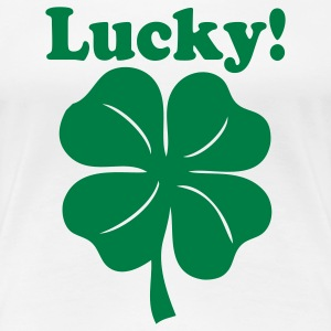 White Lucky! St.Pattys Day Designs Plus Size - Women's Premium T-Shirt