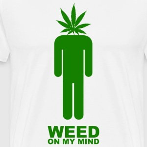 White Weed on my mind T-Shirts - Men's Premium T-Shirt