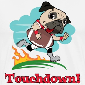 White Touchdown Football Pug 2 T-Shirts - Men's Premium T-Shirt