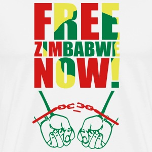 White Free Zimbabwe Now! T-Shirts - Men's Premium T-Shirt