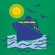 Kelly green cruise_sea_boat_sailing Kids Shirts