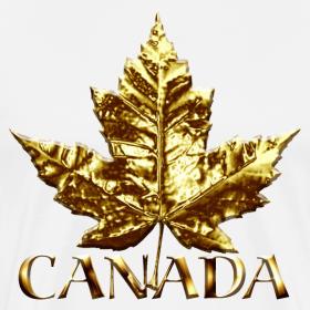 Design ~ Canada Mens XXXL T-shirt Gold Maple Leaf Canada Souvenir XXXL T-shirt
